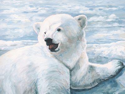 A. S.: kleiner Eisbär - Original auf Leinwand 60 x 80 cm