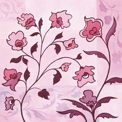 A. S.: Pink Floral Ornaments II - Original auf Leinwand 70 x 70 cm
