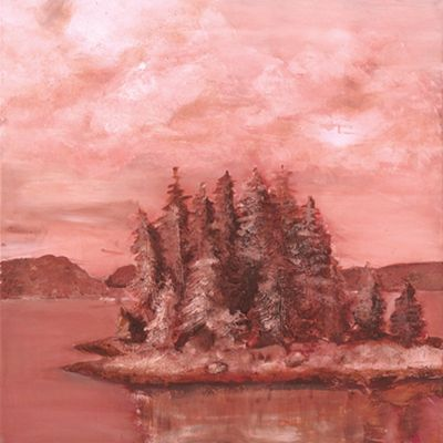 Marie Lou: Seeufer - Original auf Leinwand 70 x 70 cm
