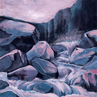 Marie Lou: Felsen - Original auf Leinwand 70 x 70 cm