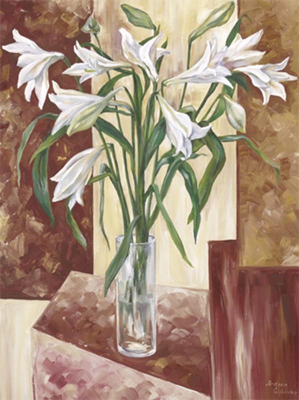 Andrea Schieler: Lilien braun-beige - Original auf Leinwand 100 x 70 cm