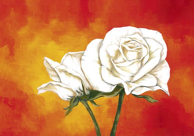 Marie Lou: Rosen auf Orange - Original auf Leinwand 70 x 90 cm