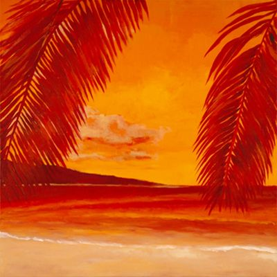 Marie Lou: Orange Beach - Original auf Leinwand 70 x 70 cm