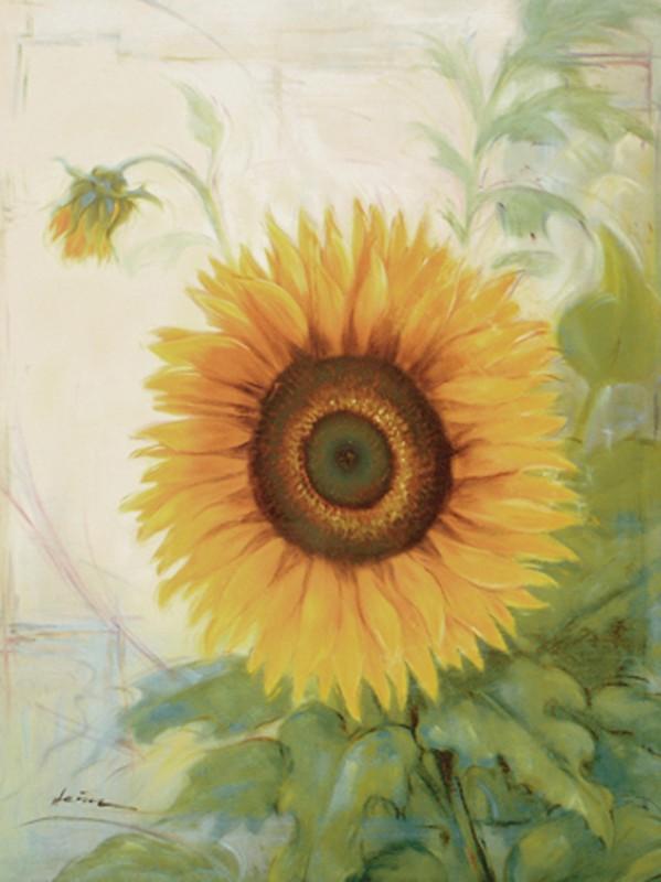 A. Heins: Sonnenblume - Original auf Leinwand 70 x 60 cm