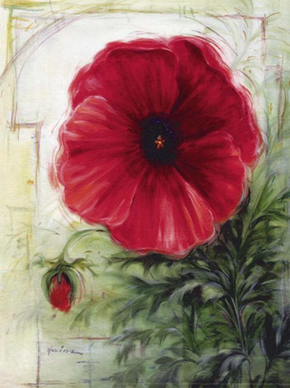 A. Heins: Mohnblume - Original auf Leinwand 70 x 60 cm