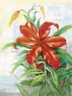 A. Heins: Feuerlilie - Original auf Leinwand 70 x 60 cm