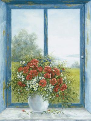 A. Heins: Mohnblumen am Fenster - Original auf Leinwand 80 x 60 cm