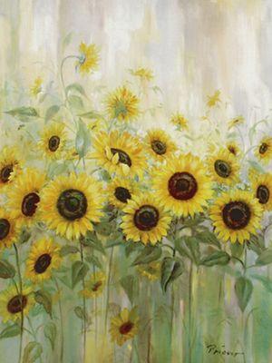 Prieur: Sonnenblumenwiese - Original auf Leinwand 80 x 60 cm
