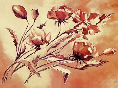 Andrea Schieler: Mohn - Original auf Leinwand 100 x 70 cm