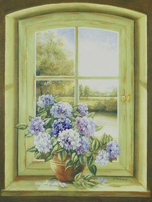 A. Heins: Hortensien am Fenster - Original auf Leinwand 80 x 60 cm