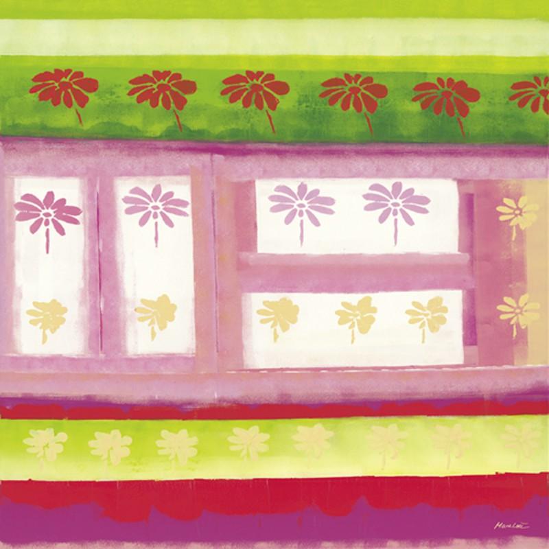 Marie Lou: Flowered Garden - Original auf Leinwand 90 x 90 cm