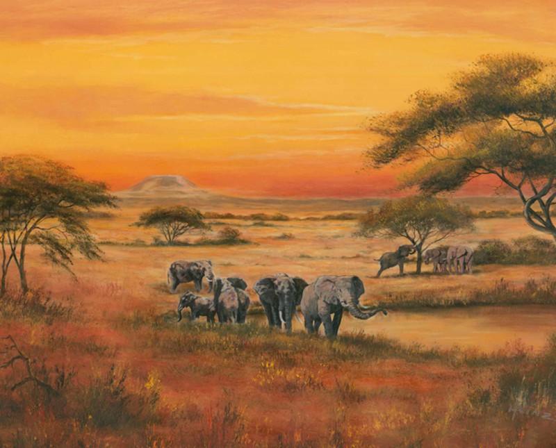 A. Heins: Afrika - Kunstdruck auf Holzfaserplatte 49 x 59 cm