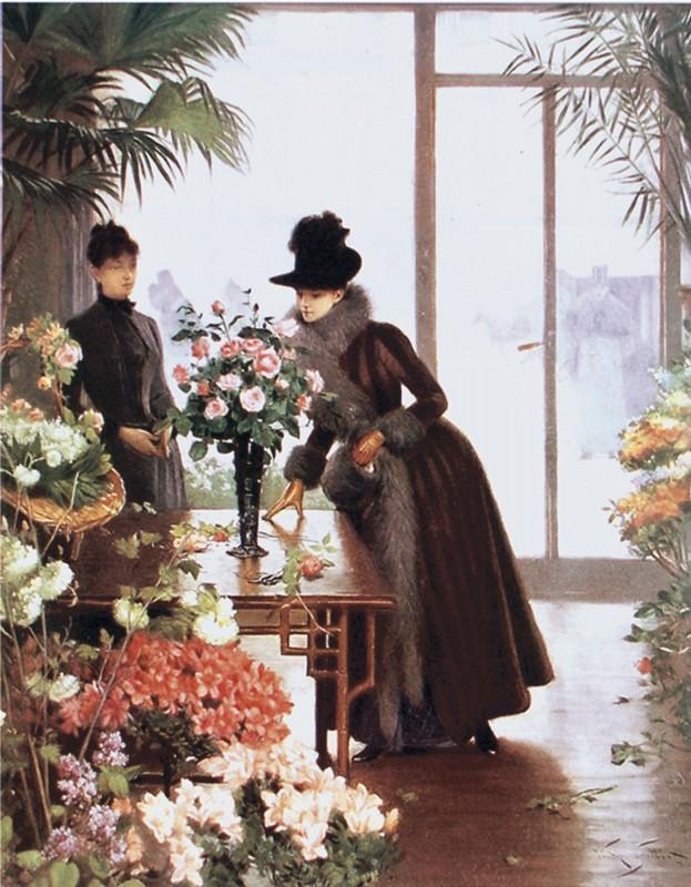 Victor Gabriel Gilbert: The Flower Shop - Kunstdruck auf Holzfaserplatte 59 x 45 cm