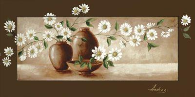 Andres: Stillleben mit Margeriten - Bild mit Modellrahmen 51,4 x 101,4 cm