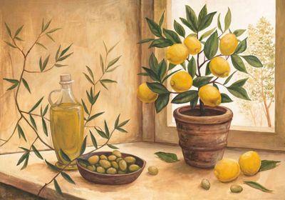 A. S.: Olive and lime - Kunstdruck auf Holzfaserplatte 69 x 99 cm