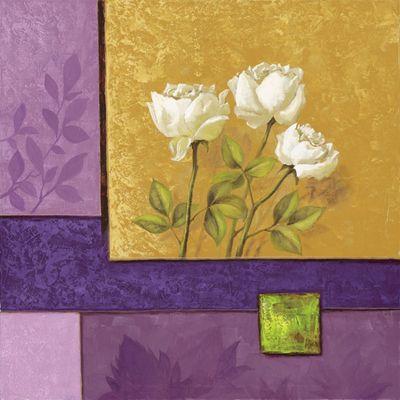 A. S.: Creamy Roses on Lilac - Original auf Leinwand 70 x 70 cm
