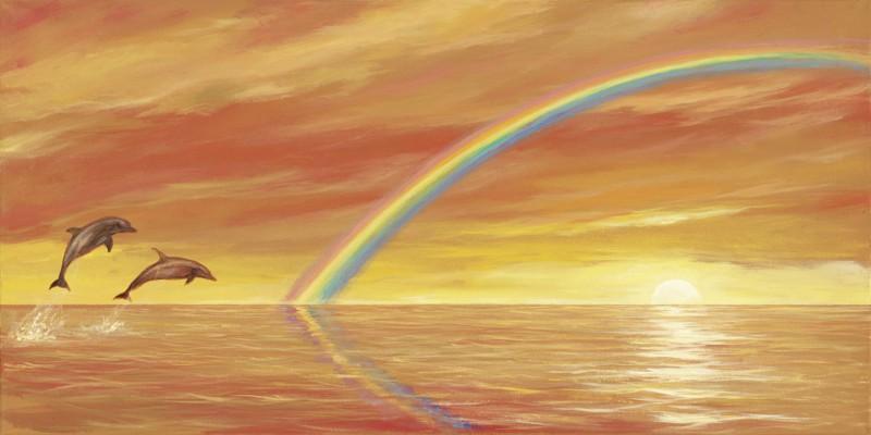 Andres: Rainbow over the Sea - Original auf Leinwand 50 x 100 cm