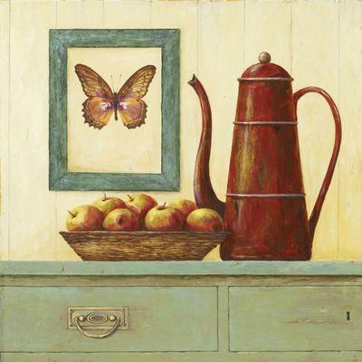 A. S.: Stillleben mit Schmetterlingsbild II - Original auf Leinwand 70 x 70 cm