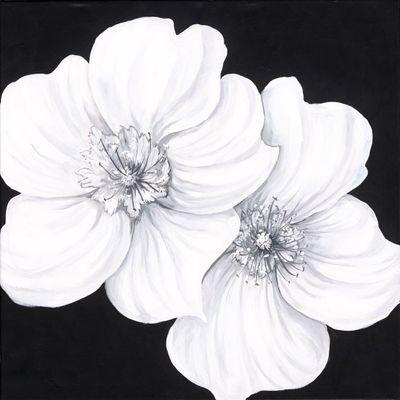 A. S.: Wildrosen - Original auf Leinwand 60 x 60 cm