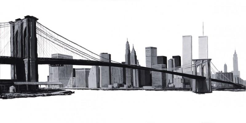 Andres: Manhattan Skyline - b/w - Original auf Leinwand 50 x 100 cm