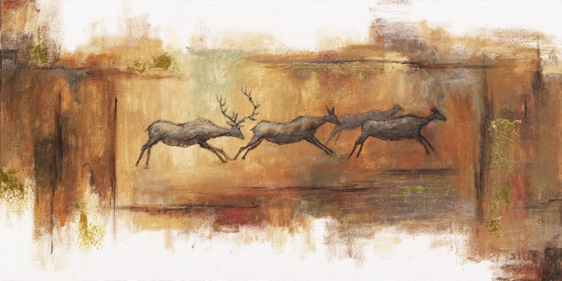 A. S.: cave art with deer and roedeers - Original auf Leinwand 50 x 100 cm