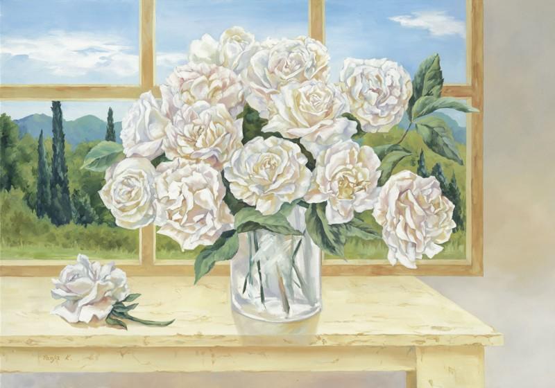 Tanja Kowak: Rosenstrauß vorm Fenster - Kunstdruck auf Holzfaserplatte 69 x 99 cm