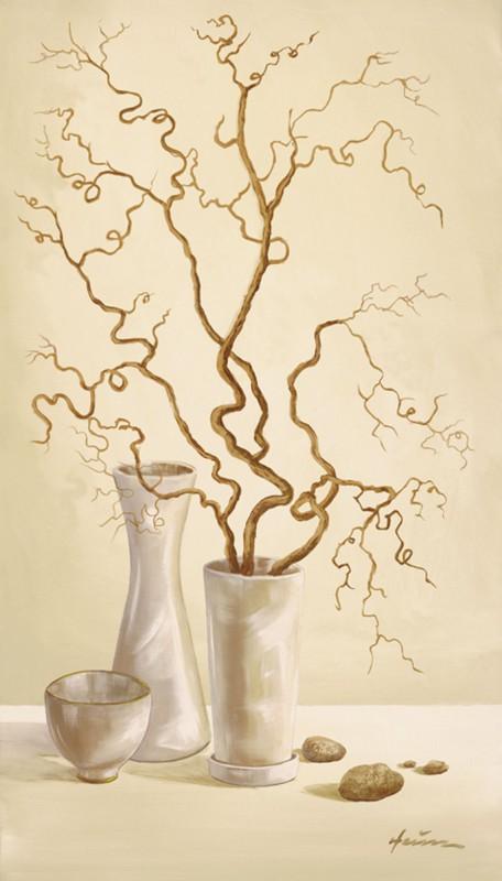 A. Heins: Korkenzieherhaselnusszweig - Kunstdruck auf Holzfaserplatte 69 x 39 cm