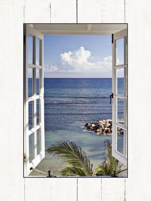 Katja Sucker: Fenster zum Paradis - Bild mit Modellrahmen 80,9 x 59,9 cm