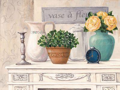 A. S.: vase à fleurs - Original auf Leinwand 60 x 80 cm