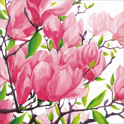 A. S.: Pink magnolias - Original auf Leinwand 70 x 70 cm