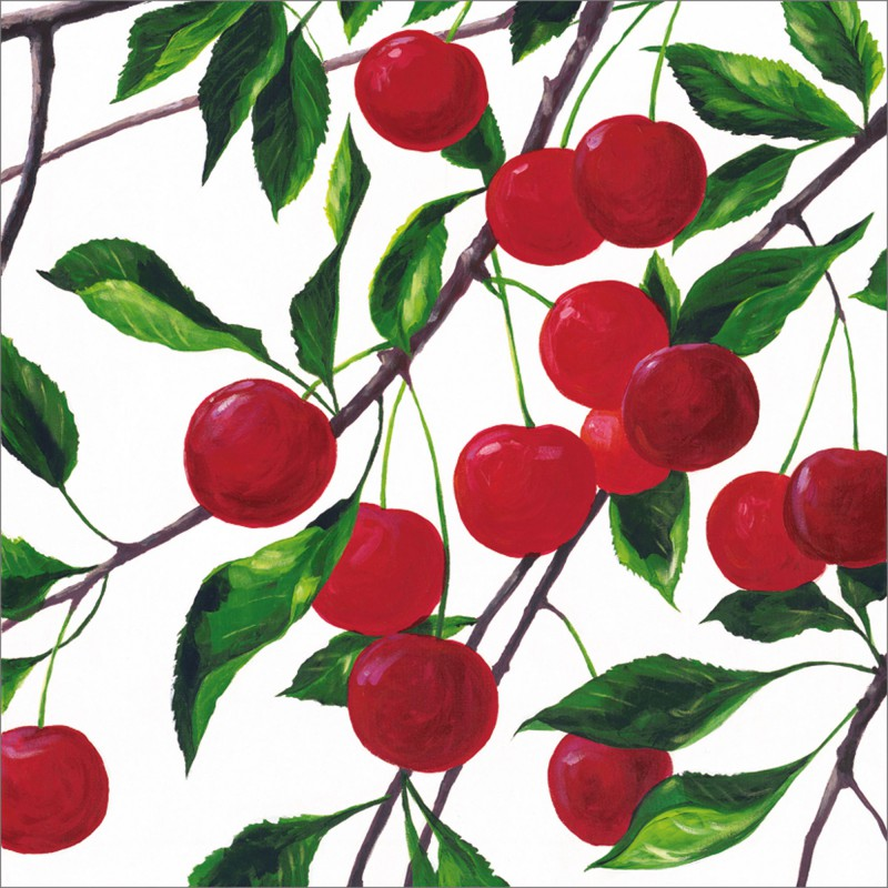 A. S.: Red cherries - Original auf Leinwand 70 x 70 cm