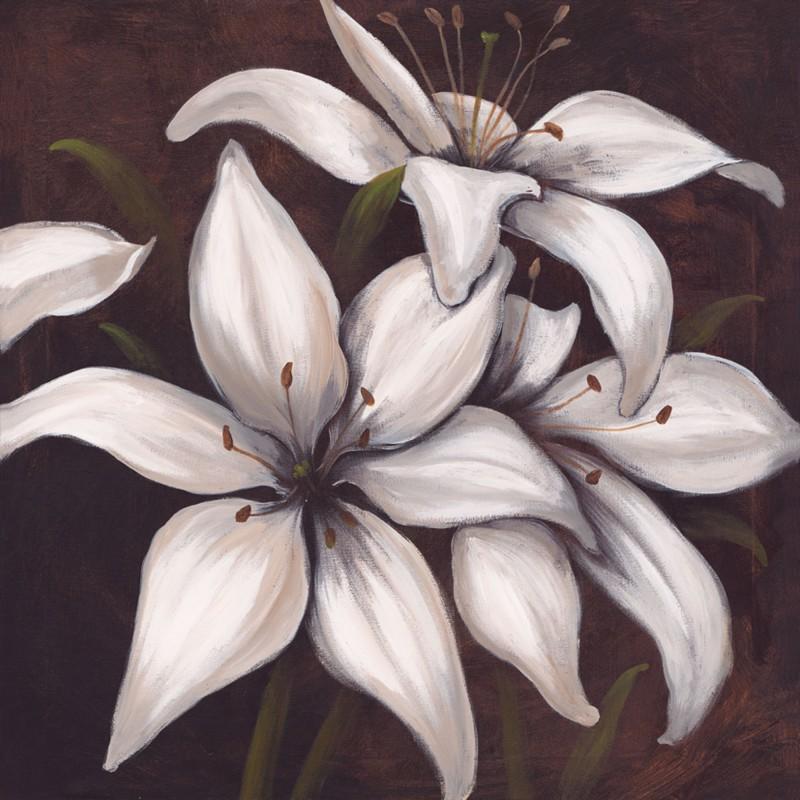 A. S.: Lilies on brown III - Original auf Leinwand 70 x 70 cm