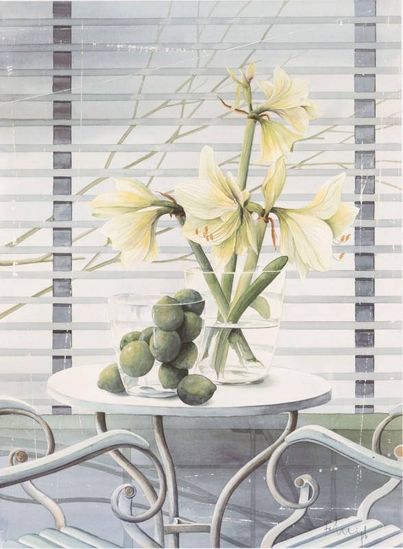 Franz Heigl: Fenster mit Lilien - Kunstdruck auf Holzfaserplatte 67 x 49 cm