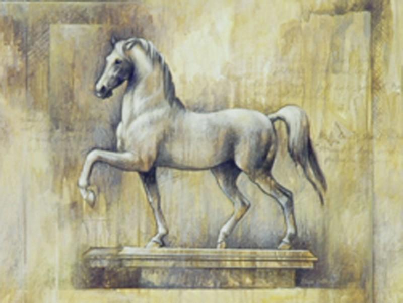 Elaine Vollherbst-Lane: Equestrian-Ochre - Kunstdruck auf Holzfaserplatte 15 x 20 cm