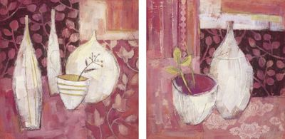 Helen Theobald: Cherry Sorbet, Raspberry Sorbet - Kunstdruck auf Holzfaserplatte 39 x 39 cm