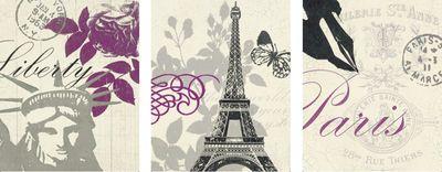 Z Studio: World Tour Liberty, World Tour Butterfly, World Tour Postcard - Kunstdruck auf Holzfaserplatte 29 x 23 cm