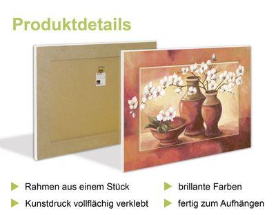Vadim Georgiev: Magie der Lotus-Blume türkis - Bild mit Modellrahmen 59,9 x 80,9 cm