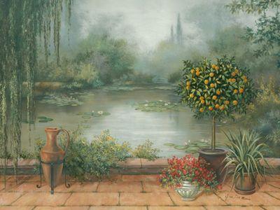 A. Heins: Terrasse am See - Kunstdruck auf Holzfaserplatte 57 x 79 cm