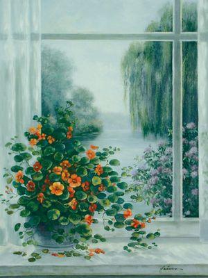 A. Heins: Kapuzinerkresse am Fenster - Kunstdruck auf Holzfaserplatte 79 x 57 cm