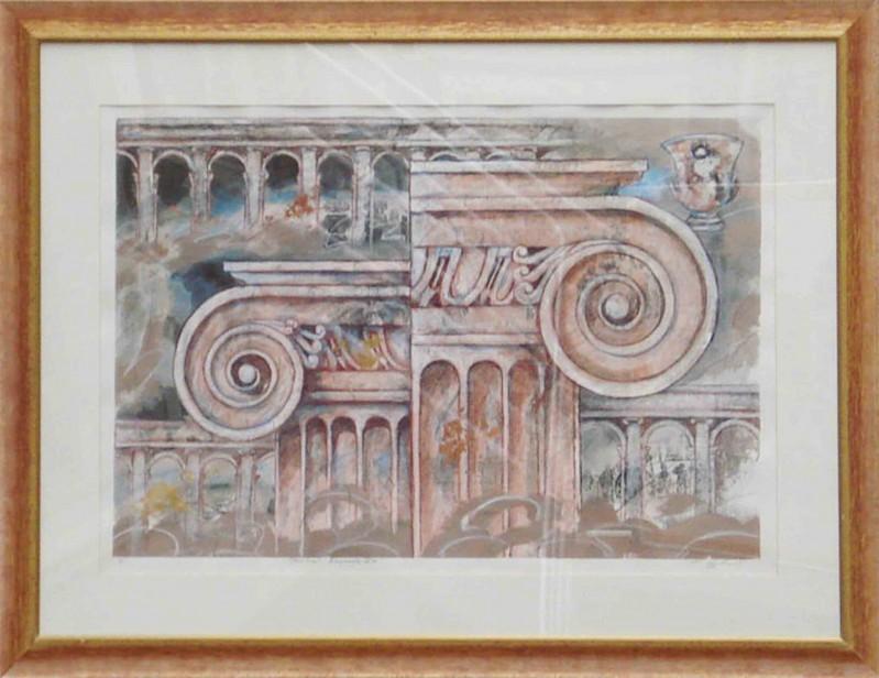Robert Hoglund: Structural Remmants Ve - Original, gerahmt mit Passepartout 92 x 125 cm