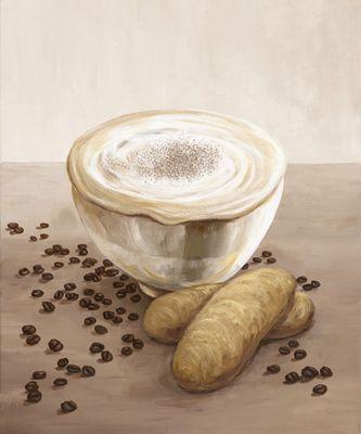 A. S.: Caffé Latte - Milchkaffee - Original auf Leinwand 60 x 50 cm