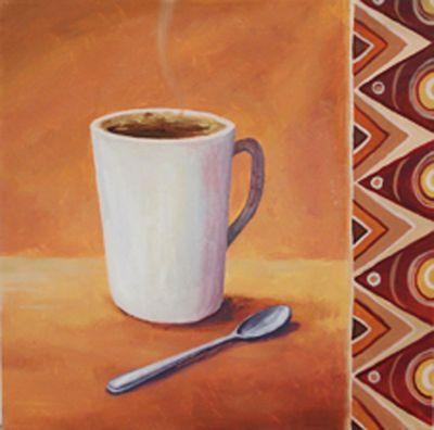 A. S.: Kaffee II - Original auf Leinwand 40 x 40 cm