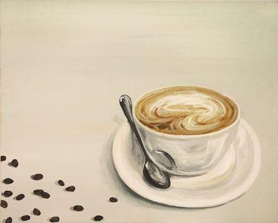 A. S.: Cappuccino - Original auf Leinwand 48 x 60 cm
