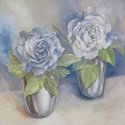 Tanja Kowak: blaue Rosen - Original auf Leinwand 80 x 80 cm