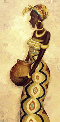 A. S.: Afrikanische Frau IV - Original auf Leinwand 80 x 40 cm