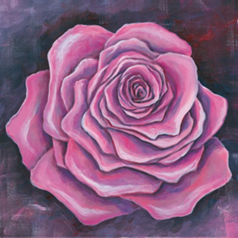 A. S.: Pinke Rose - Original auf Leinwand 50 x 50 cm
