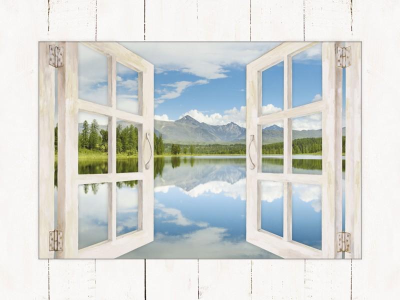 DmitryP: Bergsee - Bild mit Modellrahmen 59,9 x 80,9 cm