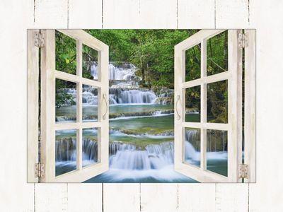 lkunl: Tiefen Wald Wasserfall in Kanchanaburi, Thailand - Fenster - Bild mit Modellrahmen 59,9 x 80,9 cm
