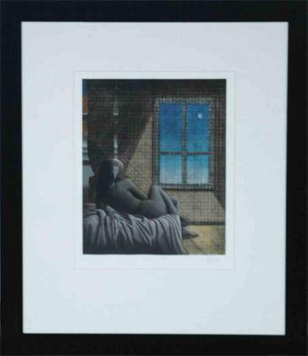 Mathonnat: Der Tag wird schön sein - Original, gerahmt mit Passepartout 96 x 79 cm