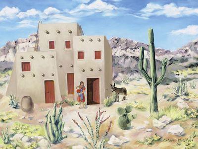 Anton Maller: Mexico - Pueblo - Original auf Leinwand 70 x 90 cm